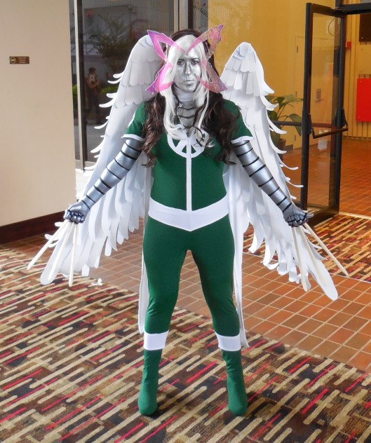 This is ROGUE with the powers of Archangel, Psylocke, Colossus, X-23 and Wolverine.  I hope she received an award for this getup, because she deserves one.