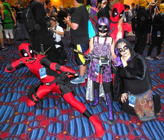 DEADPOOL, LADY DEADPOOL, HIT GIRL and a WITCH (at least that's what I think she is)